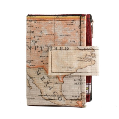 Tarjetero billetero mapamundi